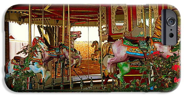 The Horse iPhone Cases - Scary Carousel Horses iPhone Case by Kathy Barney