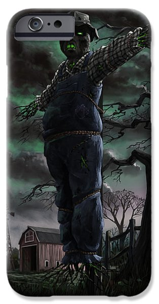 Supernatural Digital Art iPhone Cases - Scary Scarecrow in field iPhone Case by Martin Davey
