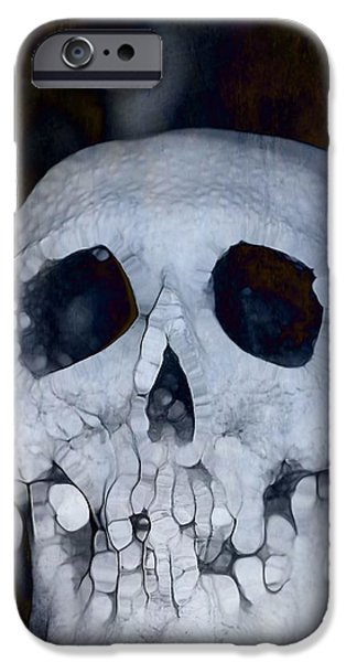 The Houses Mixed Media iPhone Cases - Scary Skull iPhone Case by Dan Sproul