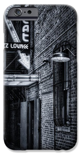 Night Lamp iPhone Cases - Scat Lounge in Cool Black and White iPhone Case by Joan Carroll