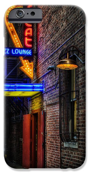 Night Lamp iPhone Cases - Scat Lounge Living Color iPhone Case by Joan Carroll