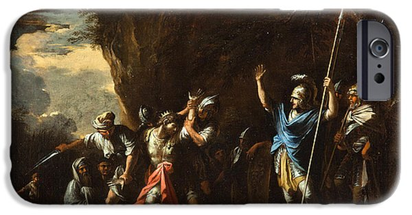 King Of The Persians iPhone Cases - Scene from Greek history. The deaf-mute son of King Croesus prevents the Persians from killing his f iPhone Case by Salvator Rosa