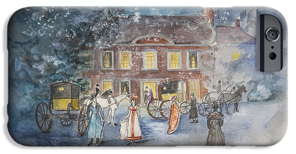 Xmas iPhone Cases - Scene from Jane Austens Emma iPhone Case by Caroline Hervey Bathurst