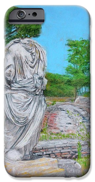 Ruins Pastels iPhone Cases - Scene from Ostia Antica iPhone Case by John Ruggiero