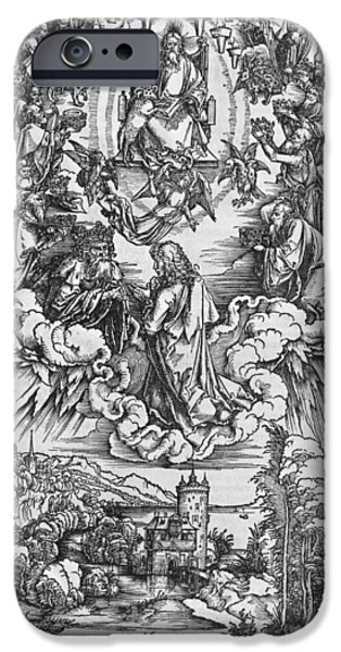St John The Evangelist iPhone Cases - Scene from the Apocalypse iPhone Case by Albrecht Durer or Duerer