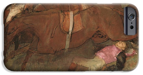 Horse Racing iPhone Cases - Scene from the Steeplechase The Fallen Jockey iPhone Case by Edgar Degas
