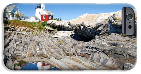 Maine iPhone Cases - Scene in the Rocks iPhone Case by Donnie Shackleford