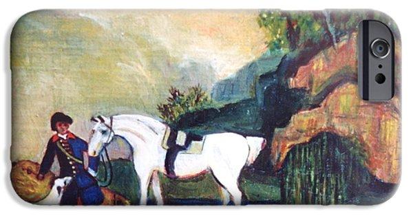 Dog In Landscape iPhone Cases - Scenery of a white horse. iPhone Case by Egidio Graziani