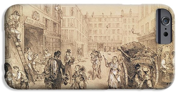 Sweeps iPhone Cases - Scenes And Morals Of Paris, From Paris Qui Seveille, Printed By Lemercier, Paris Litho iPhone Case by French School