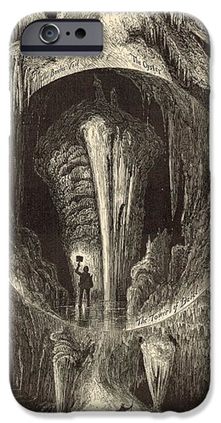 Scenes in Weyer's Cave Virginia 1872 Engraving iPhone Case by Antique Engravings