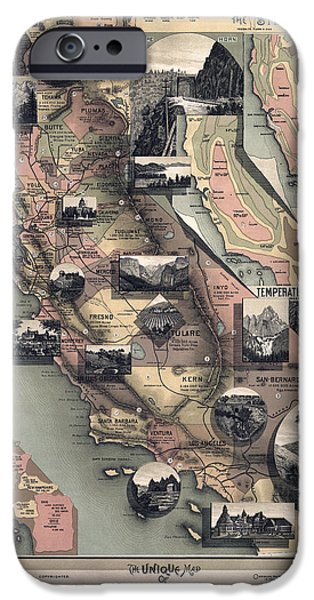 California State Map iPhone Cases - SCENES of CALIFORNIA 1888 iPhone Case by Daniel Hagerman