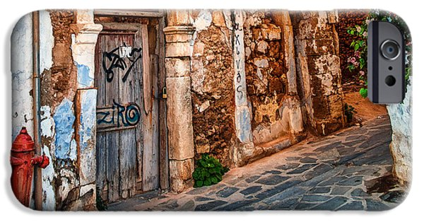 Ruin iPhone Cases - Scenic Corner of Chania Old Town iPhone Case by David Hallett