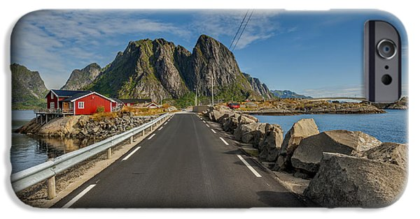 Norway iPhone Cases - Scenic fjord on Lofoten iPhone Case by Jan Sieminski