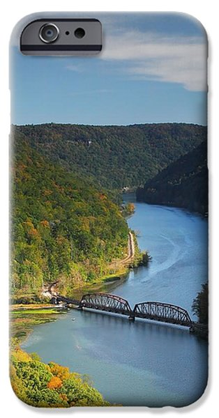 River View Pyrography iPhone Cases - Scenic Overlook WV iPhone Case by Daniel Behm