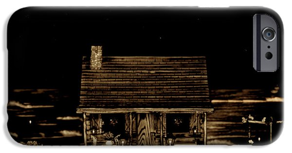 Old Cars iPhone Cases - Scenic View At Night iPhone Case by Leslie Crotty