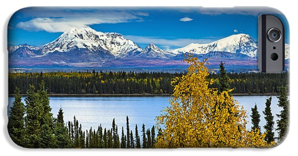 Willow Lake iPhone Cases - Scenic View Of Mt. Sanford L And Mt iPhone Case by Sunny Awazuhara- Reed