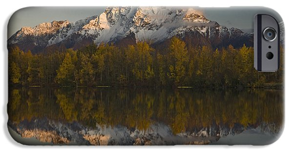 Matanuska iPhone Cases - Scenic View Of Pioneer Peak Reflecting iPhone Case by Hal Gage