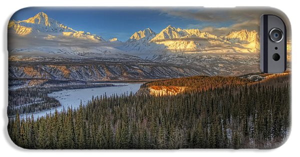 Matanuska iPhone Cases - Scenic View Of The Chugach Mountian iPhone Case by Michael Criss
