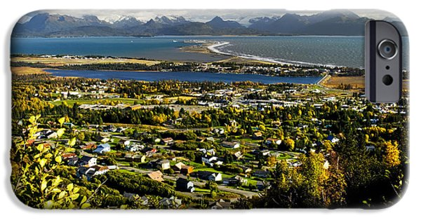 Spit iPhone Cases - Scenic View Overlooking The Town Of iPhone Case by Bill Scott