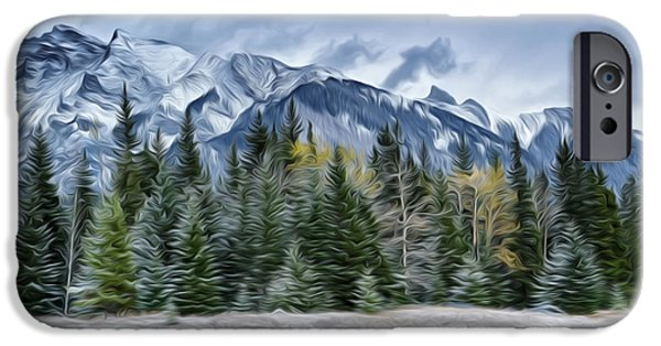 Park Scene Paintings iPhone Cases - Scenic winter mountain views iPhone Case by Lanjee Chee