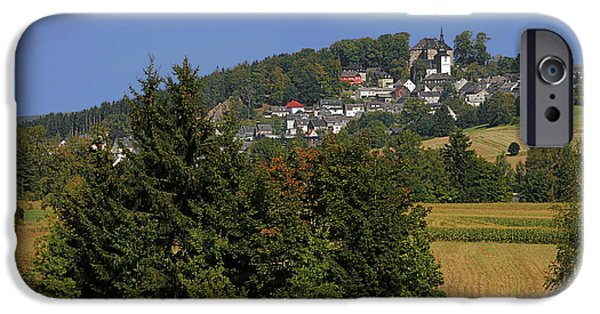 Interior Scene iPhone Cases - Schauenstein - A typical Upper-Franconian town iPhone Case by Christine Till