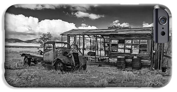Haybale iPhone Cases - Schellbourne Station And Old Truck iPhone Case by Robert Bales