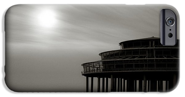 Monochrome iPhone Cases - Pier Sunset iPhone Case by Dave Bowman