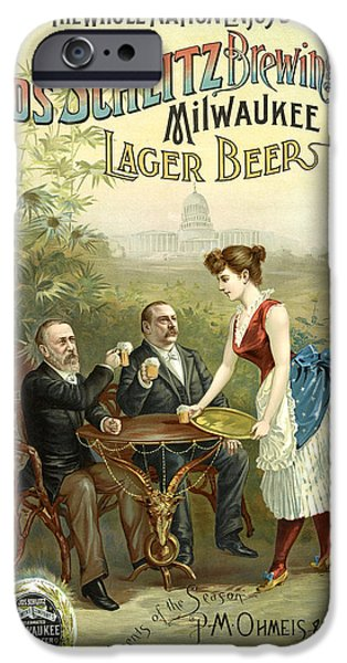 Antiques iPhone Cases - Schlitz Beer Poster iPhone Case by Gary Grayson