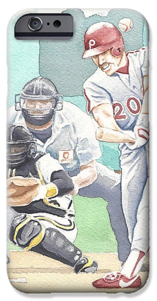 Phillies Paintings iPhone Cases - Schmidtys 500th iPhone Case by Kenny Phifer