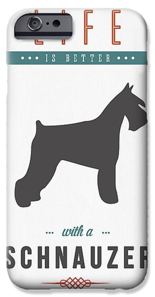 Cute Schnauzer iPhone Cases - Schnauzer 01 iPhone Case by Aged Pixel