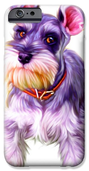 Cute Schnauzer iPhone Cases - Schnauzer Dog Art iPhone Case by Iain McDonald