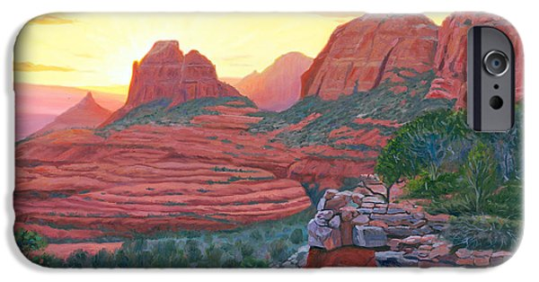 Sedona Paintings iPhone Cases - Schnebly Hill Sunset iPhone Case by Steve Simon