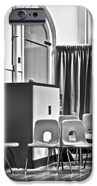 Anticipation Photographs iPhone Cases - School chairs iPhone Case by Tom Gowanlock