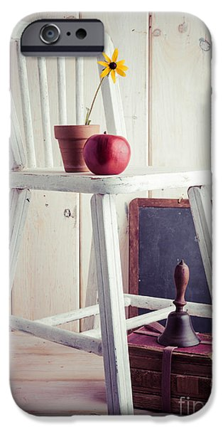 Red School House iPhone Cases - School Days iPhone Case by Edward Fielding