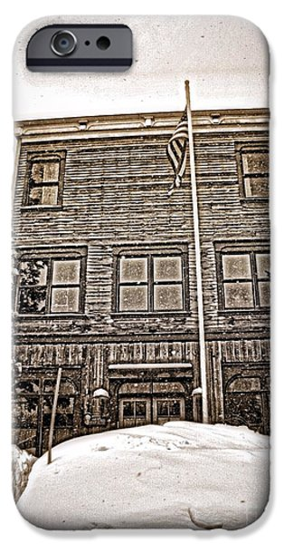 Haunted Schools iPhone Cases - School house iPhone Case by Christina Perry