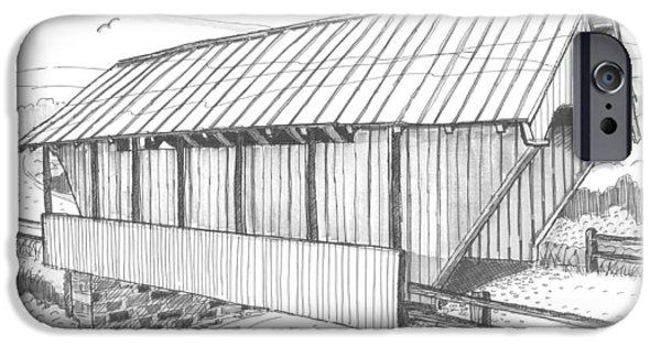Covered Bridge Drawings iPhone Cases - School House Covered Bridge iPhone Case by Richard Wambach