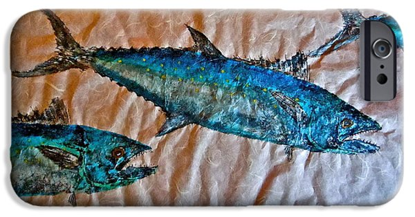 Sportfish Mixed Media iPhone Cases - School of Mackerel - Spanish Invasion iPhone Case by Jeffrey Canha