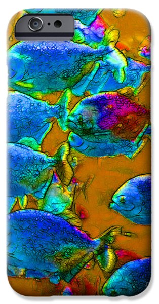 School of Piranha v1 iPhone Case by Wingsdomain Art and Photography