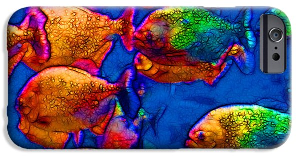 Piranha iPhone Cases - School of Piranha v3 - square iPhone Case by Wingsdomain Art and Photography