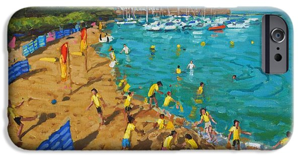 Sandcastles iPhone Cases - School outing New Quay Wales iPhone Case by Andrew Macara