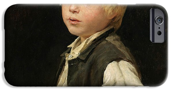Schoolboy iPhone Cases - Schoolboy iPhone Case by Albert Anker