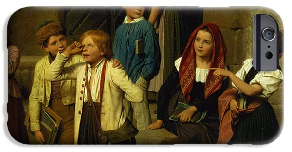 Crying Paintings iPhone Cases - Schoolchildren Watching a Boy Cry iPhone Case by Friedrich Edouard Meyerheim