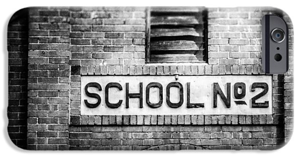 Brick Schools iPhone Cases - Schoolhouse No. 2 In Black and White iPhone Case by Lisa Russo