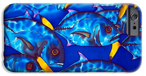 Sea Tapestries - Textiles iPhone Cases - Schooling  jack fish iPhone Case by Daniel Jean-Baptiste