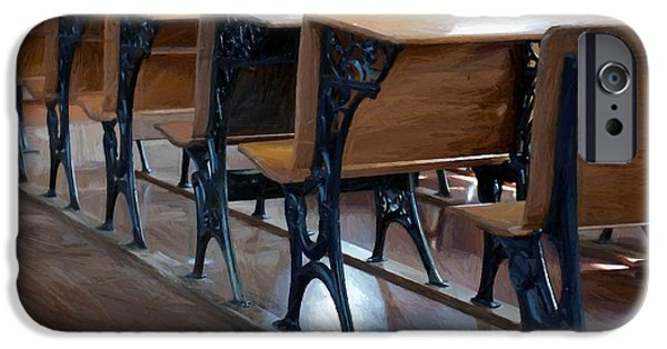 Empty Chairs Paintings iPhone Cases - Schools Out For Summer - Pleasant Ridge Schoolhouse 1869 iPhone Case by Liane Wright