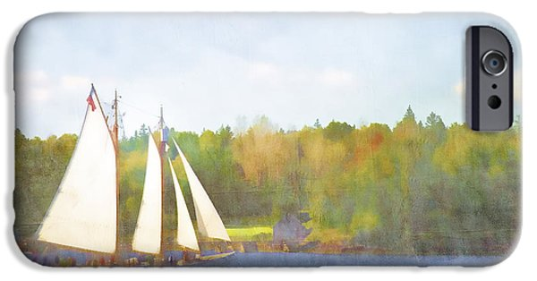 Maine iPhone Cases - Schooner Castine Harbor Maine iPhone Case by Carol Leigh
