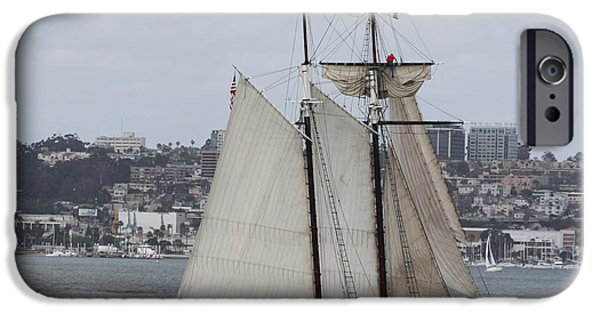 Heading Out iPhone Cases - Schooner heading out to the Ocean iPhone Case by John Telfer