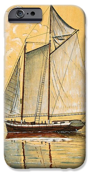 Sailboat Ocean Mixed Media iPhone Cases - Schooner in the Bay iPhone Case by James Zeger