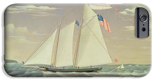 Flag Drawings iPhone Cases - Schooner Lewis R Mackey iPhone Case by James Bard