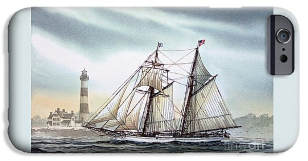 Sailing Ship Framed Prints iPhone Cases - Schooner Light iPhone Case by James Williamson
